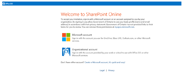 Clicking on Microsoft account on the Welcome to SharePoint Online page allows you to access the DHW platform or create a new account.
