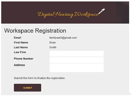 Completing the empty fields (Law Firm, Phone Number and Address) on the Workspace Registration page allows you to finish the registration process.