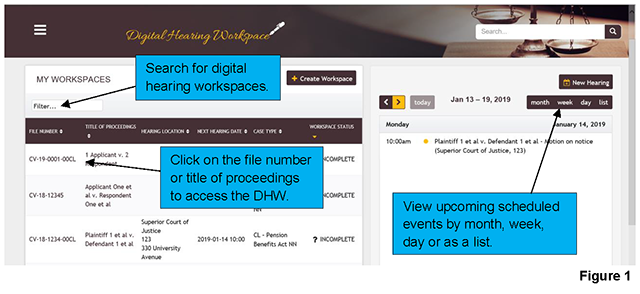 The homepage of the DHW displays the workspaces that have been assigned to you on the left-hand side and a calendar displaying upcoming scheduled events on the right-hand side.