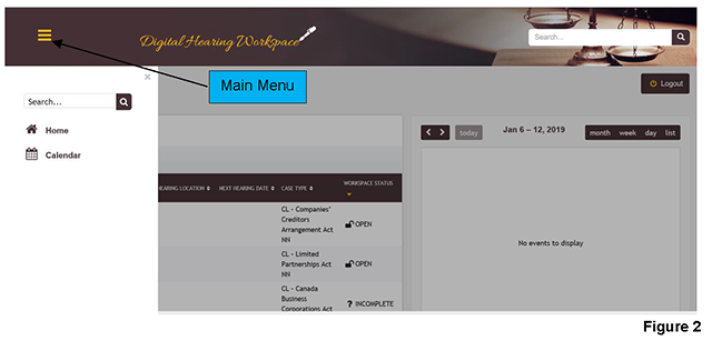 The main menu allows you to navigate to the homepage and calendar.