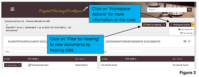 The case landing page for the workspace of a case provides an overview of case information details, documents shared by both parties and your saved drafts.