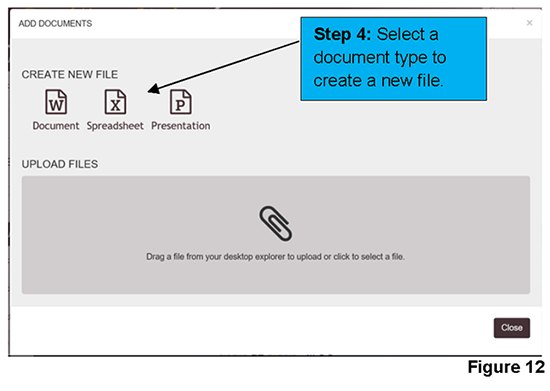 "Clicking on the appropriate document type (Document, Spreadsheet or Presentation) under ""CREATE NEW FILE"" allows you to create a file in the workspace."