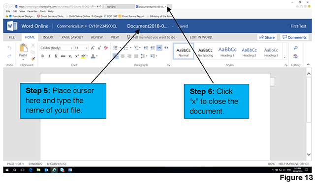 This is an example of an online Word document. You can create your document in the online version and close the window to save.