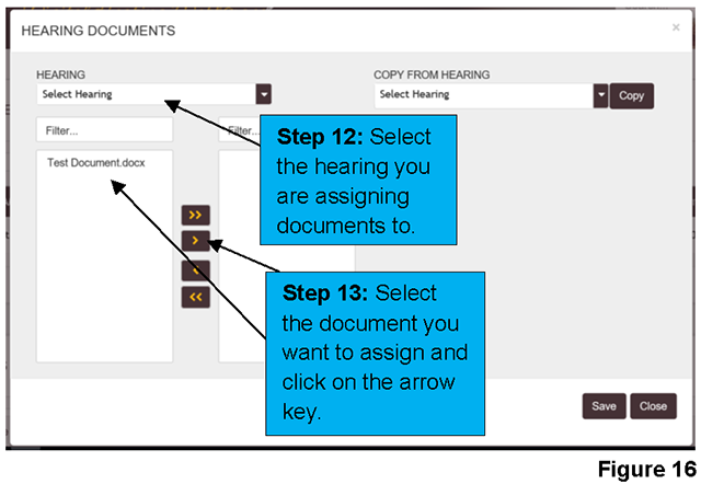 A pop-up window allows you to select the document and hearing date to which you want to assign the document.