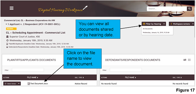"Clicking on ""Filter by hearing"" on the case landing page allows you to view all documents shared or documents shared for a hearing date."
